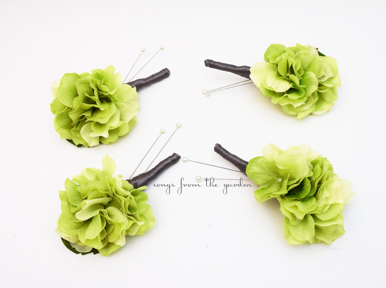 Green Real Touch Hydrangea Charcoal Ribbon Boutonniere Wedding Prom Homecoming