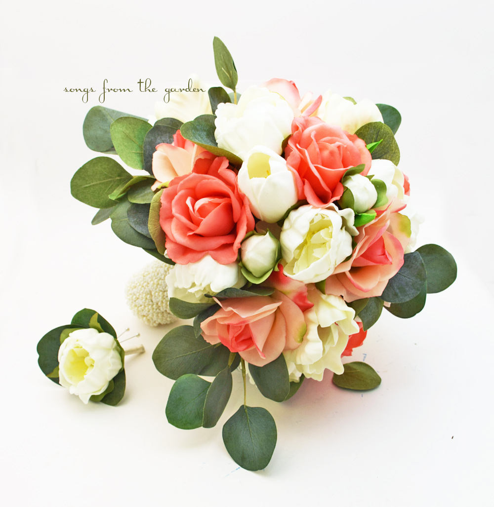 Coral & Peach Bridal Bouquet Eucalyptus Peonies Roses Tulips with Groom's Boutonniere