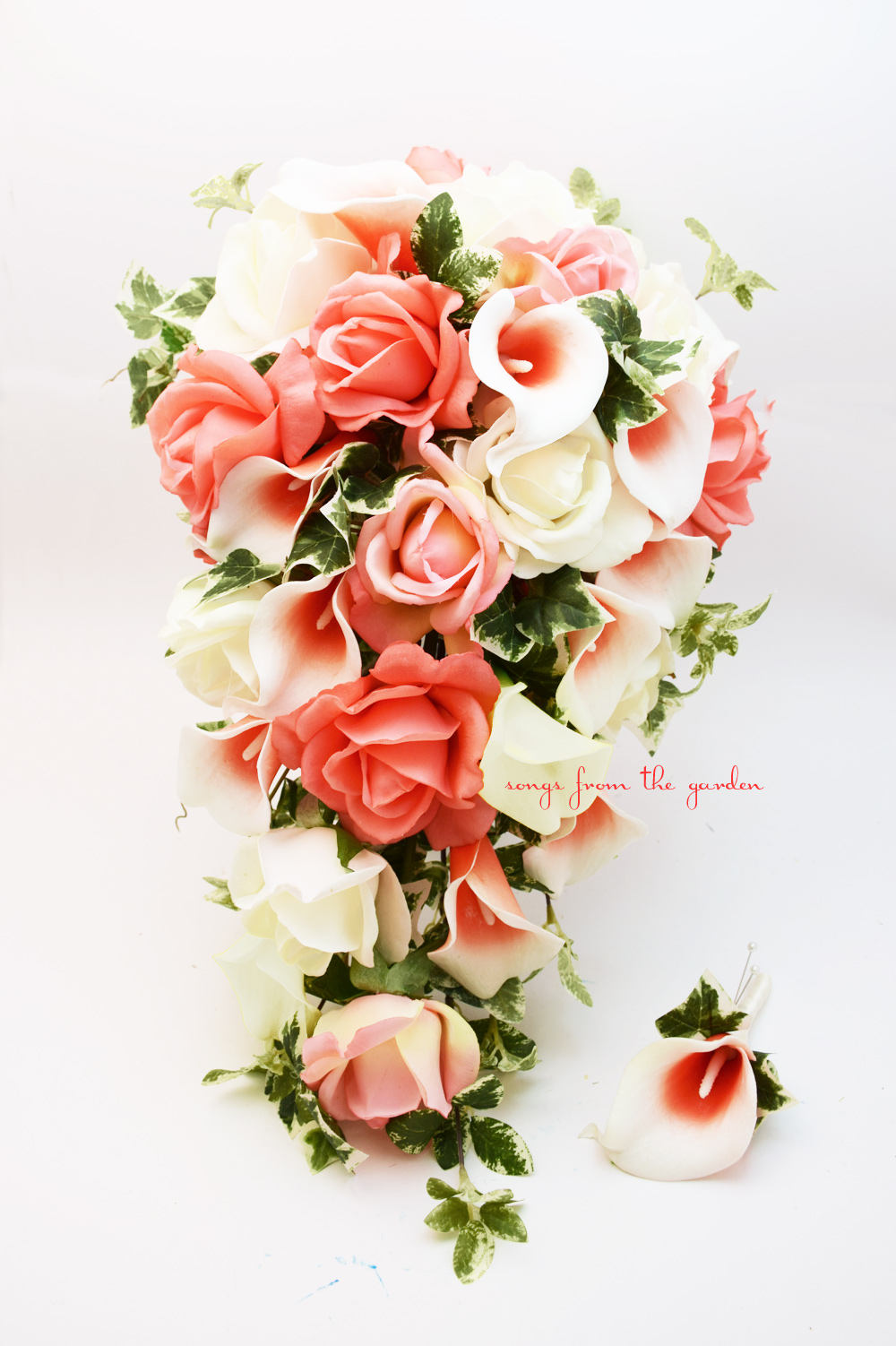 Cascade Bridal Bouquet Coral Picasso Callas Real Touch White and Coral Roses with Boutonniere