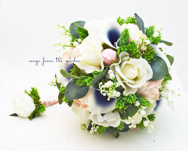 Navy Pink and White Real Touch Bouquet Callas Anemones Lily of the Valley Peonies Roses Hops