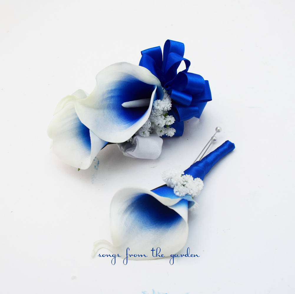 Real Touch Royal Blue Picasso Calla Boutonniere and Corsage - Wedding Prom Homecoming