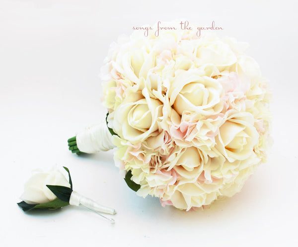 Blush and Ivory Bridal Bouquet + Groom's Boutonniere - Real Touch Ivory Roses & Blush Hydrangea