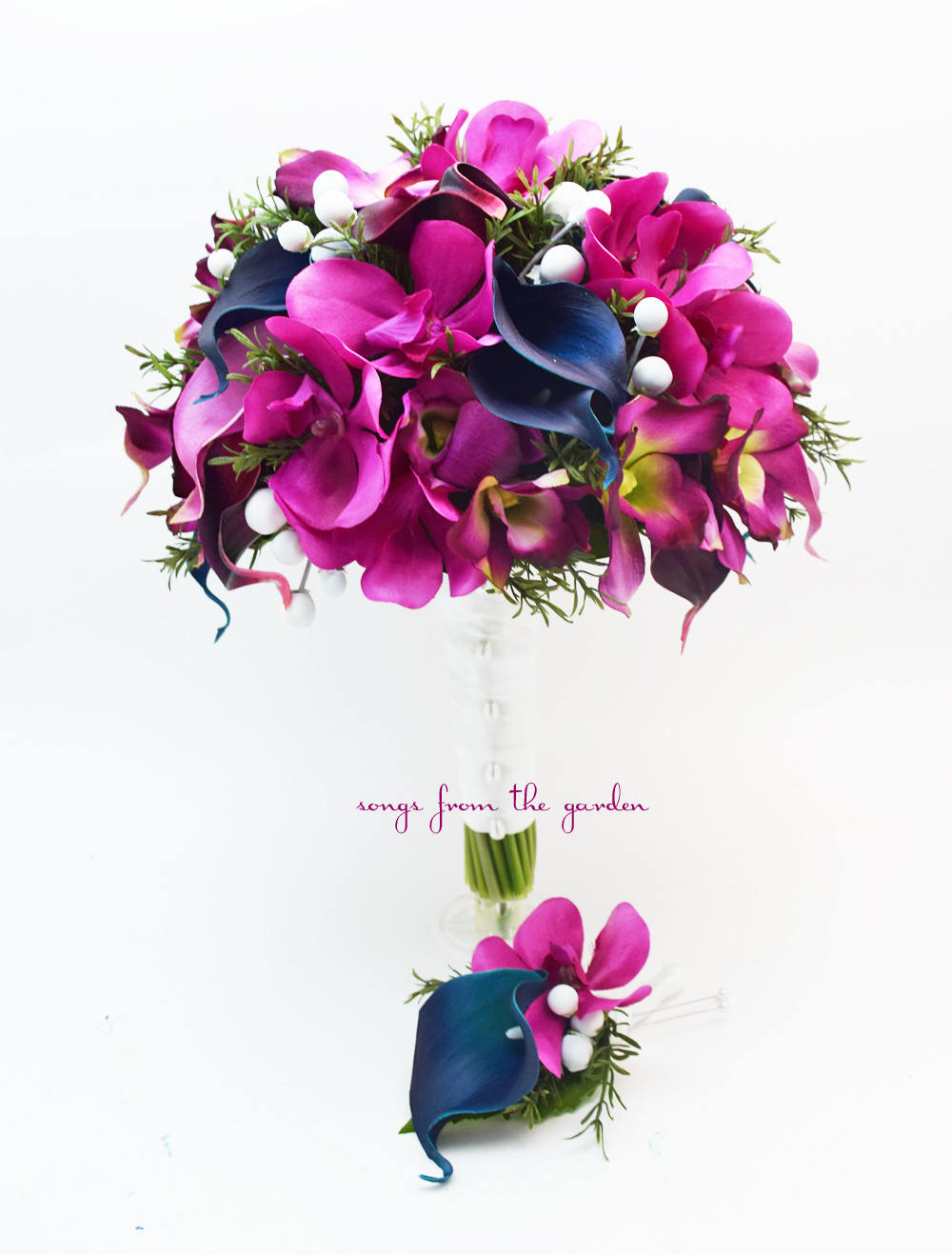 Orchids Callas Rosemary Berries - Bridal Bouquet Groom's Boutonniere - Fuchsia, Navy and White