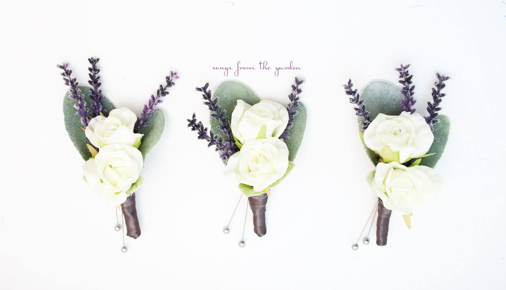 White Mini Rose Boutonnieres - Lavender and Lamb's Ear Accents -  Wedding Prom Homecoming