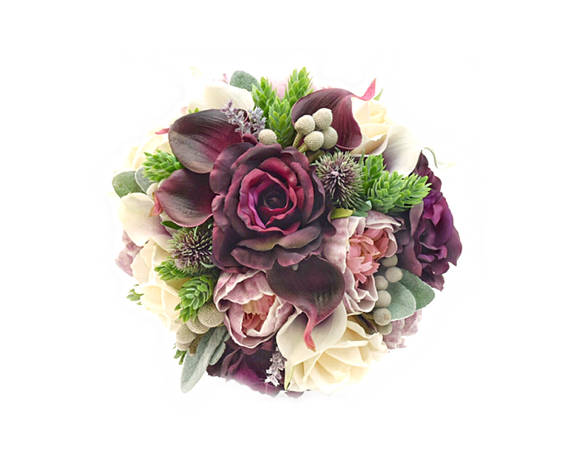 Plum and Ivory Wedding Bridal Bouquet Groom's Boutonniere Roses Peonies Callas Brunia Hops