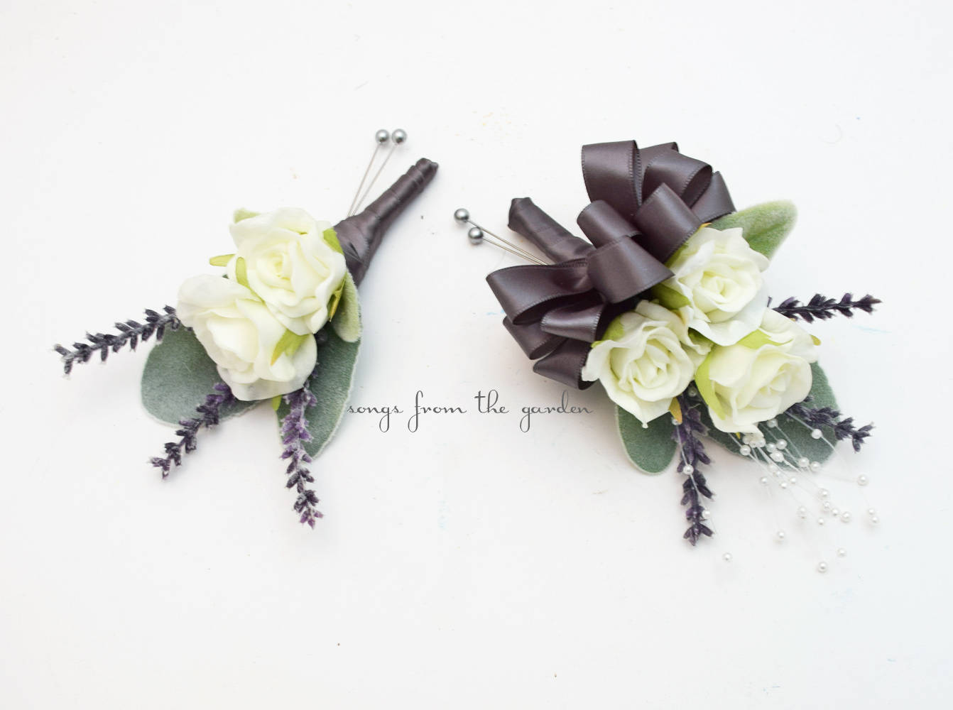 White Lavender Real Touch Rose Boutonniere Pin On Corsage with Pearls - Wedding Prom Homecoming