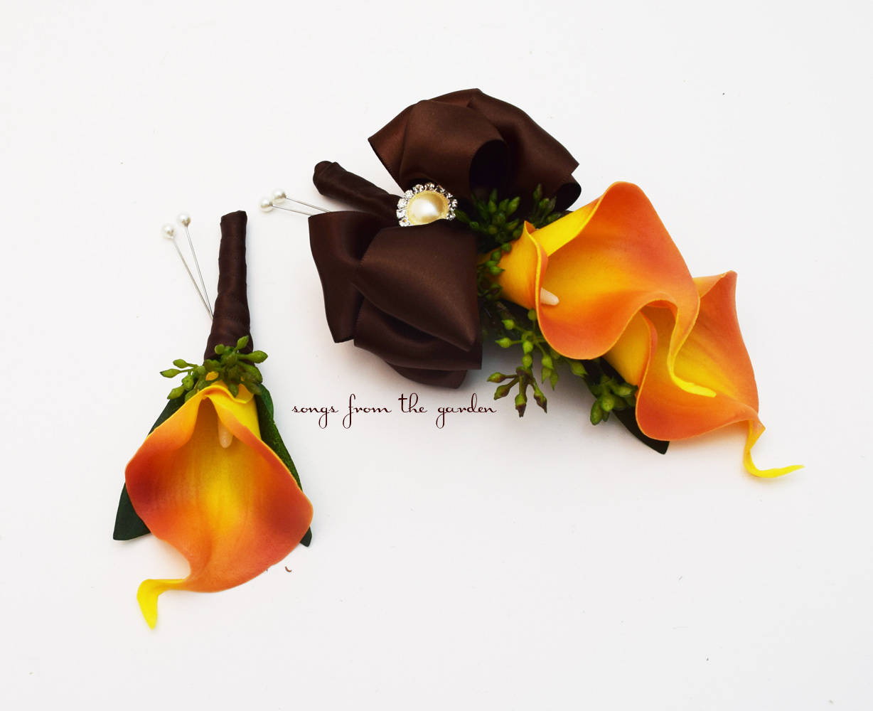 Real Touch Orange Calla Lily Boutonniere Pin On Corsage -Prom Homecoming Corsage Boutonniere
