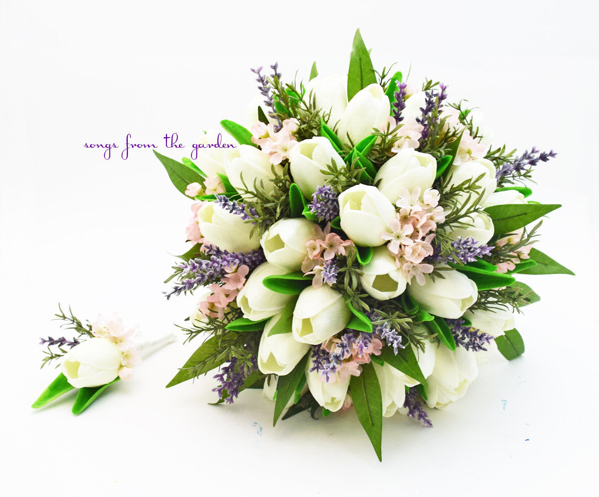Real Touch Tulips Waxflower Lavender Rosemary - Bridal Bouquet Groom's Boutonniere