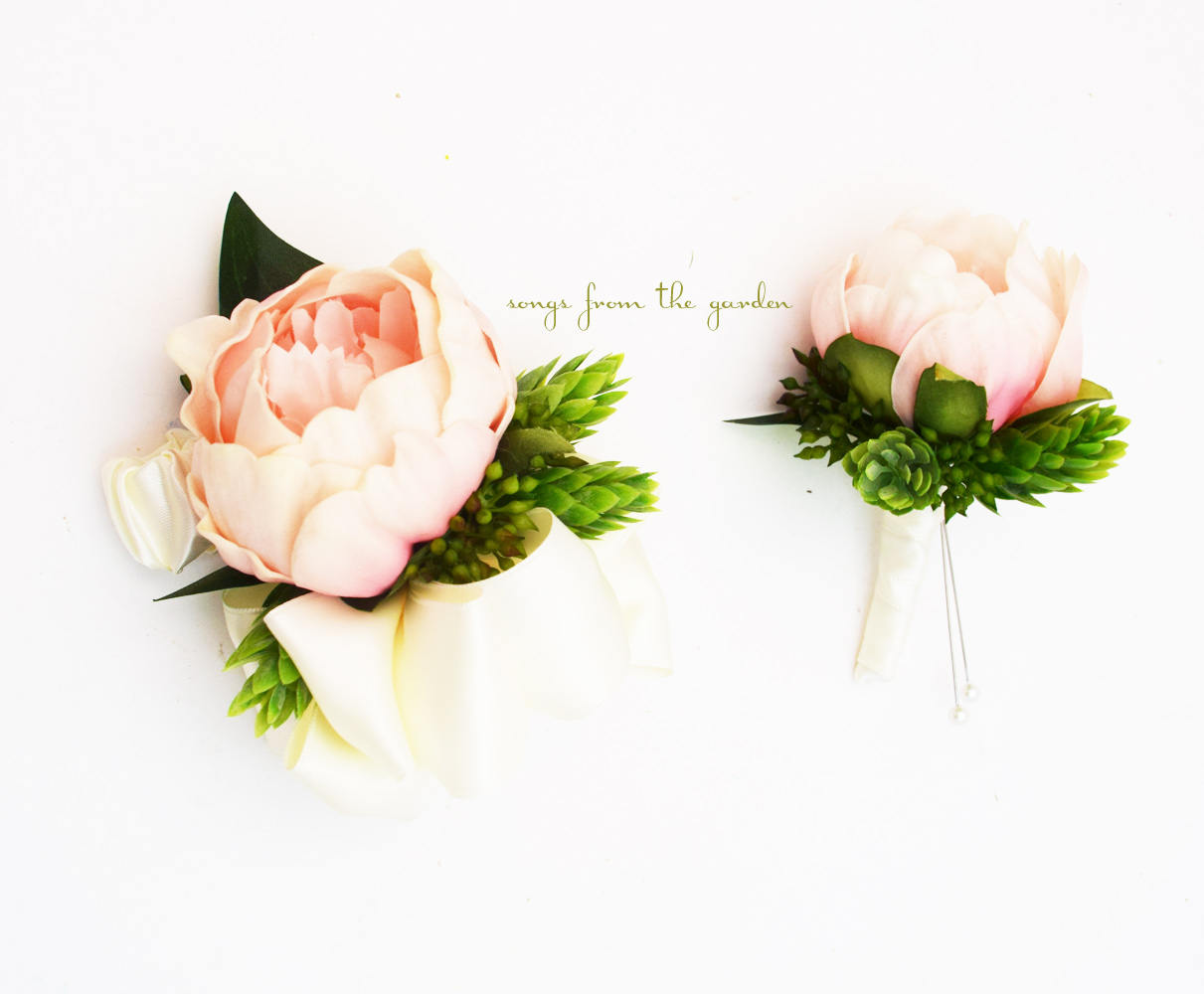 Pink Peony Boutonniere and Corsage - Hops and Eucalyptus Accents - Wedding Prom Homecoming
