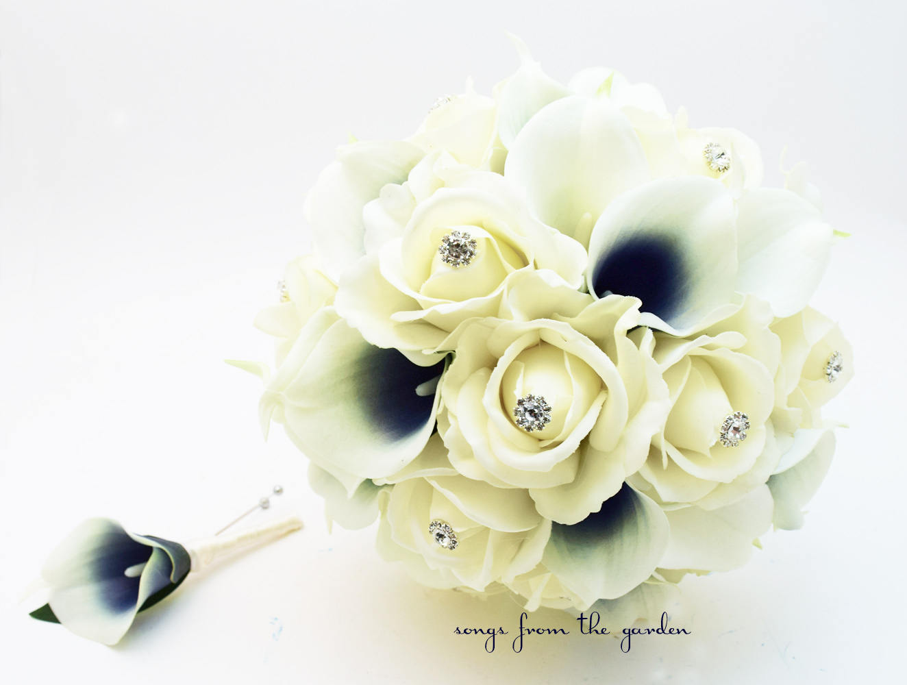 Navy & White Bridal Bouquet Picasso Calla Lilies Roses and Rhinestones - Groom's Boutonniere