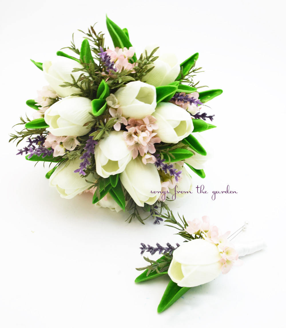 Real Touch Tulips Waxflower Lavender Rosemary - Bridesmaids Bouquets Groomsmen Boutonnieres
