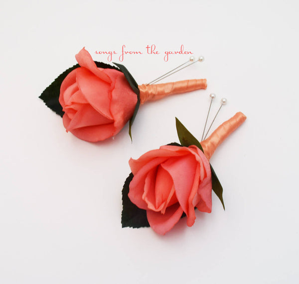 Coral Real Touch Rose Boutonniere - Groom Groomsmen Boutonnieres Prom Homecoming Boutonniere