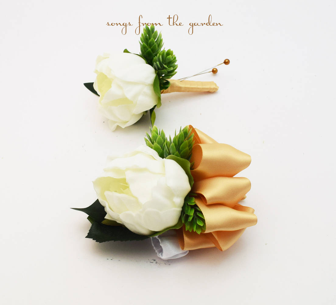 White Peony Boutonniere and Corsage -  Groom Groomsmen Wedding Prom Homecoming Corsage