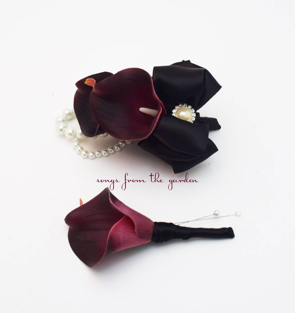 Plum Callas With Pearls - Real Touch Wedding Boutonniere and Corsage - Homecoming Prom Corsage
