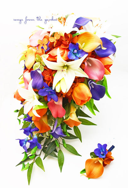 Cascade Bridal Bouquet Blue Orchids, Real Touch Lilies, Callas and Tulips, Silk Hydrangea