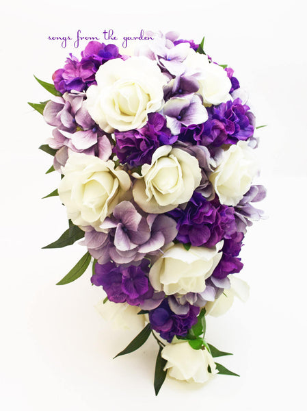 Cascade Bridal Bouquet White, Purple and Lavender with Roses and Hydrangea