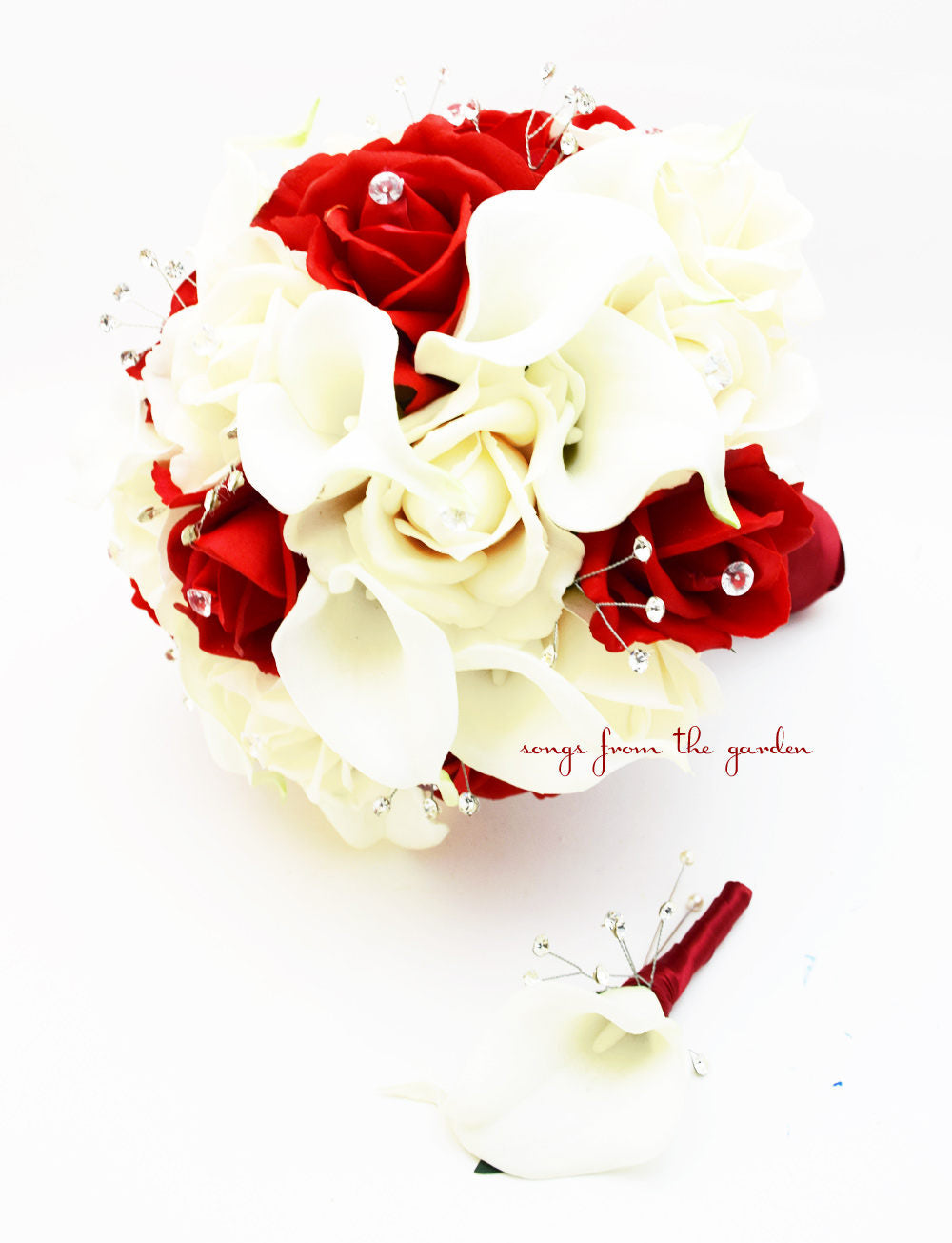 Red Roses Calla Lilies & Crystals Bridal Bouquet Real Touch White Callas White and Red Roses