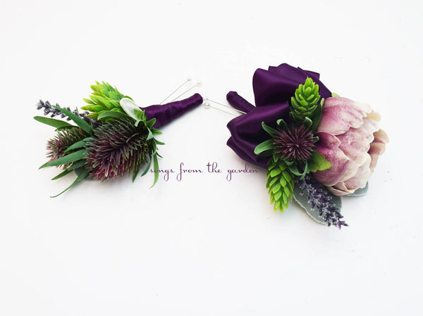 Lavender Peony and Thistle Boutonniere and Pin On Corsage - Wedding Prom Homecoming Corsage
