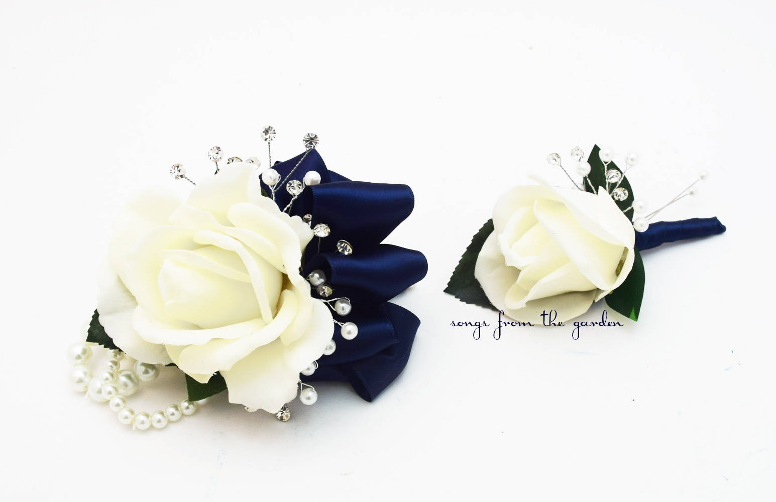 White Navy Real Touch Rose Wedding Boutonniere & Wedding Corsage with Crystals and Pearls