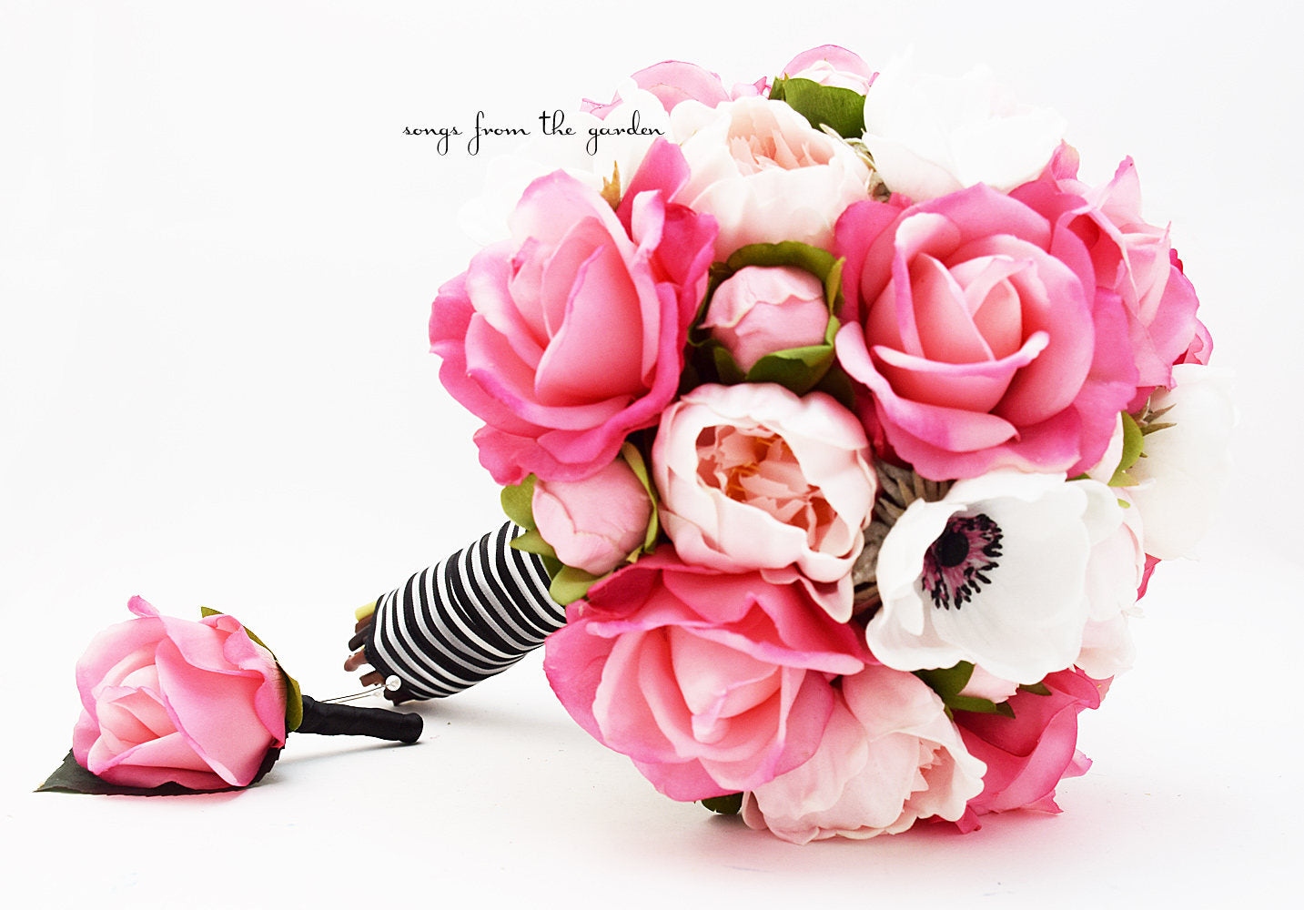 Pink, Black and White Bridal Bouquet Real Touch Anemones, Hot Pink Roses, Pink Peonies
