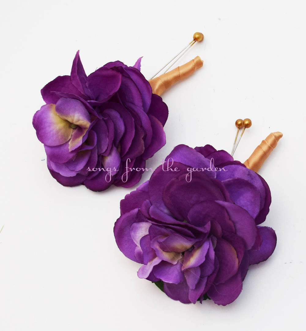 Purple Silk Hydrangea Boutonniere and Pin On Corsage - Purple and Gold Wedding Flowers