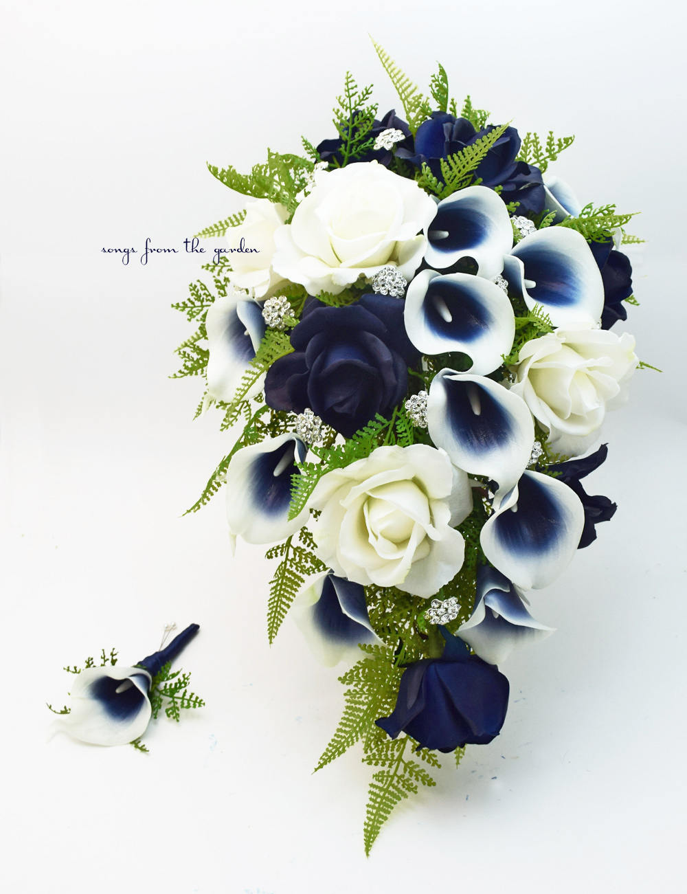 Navy Blue and White Cascade Bouquet - Navy Picasso Callas Real Touch Roses and Rhinestones