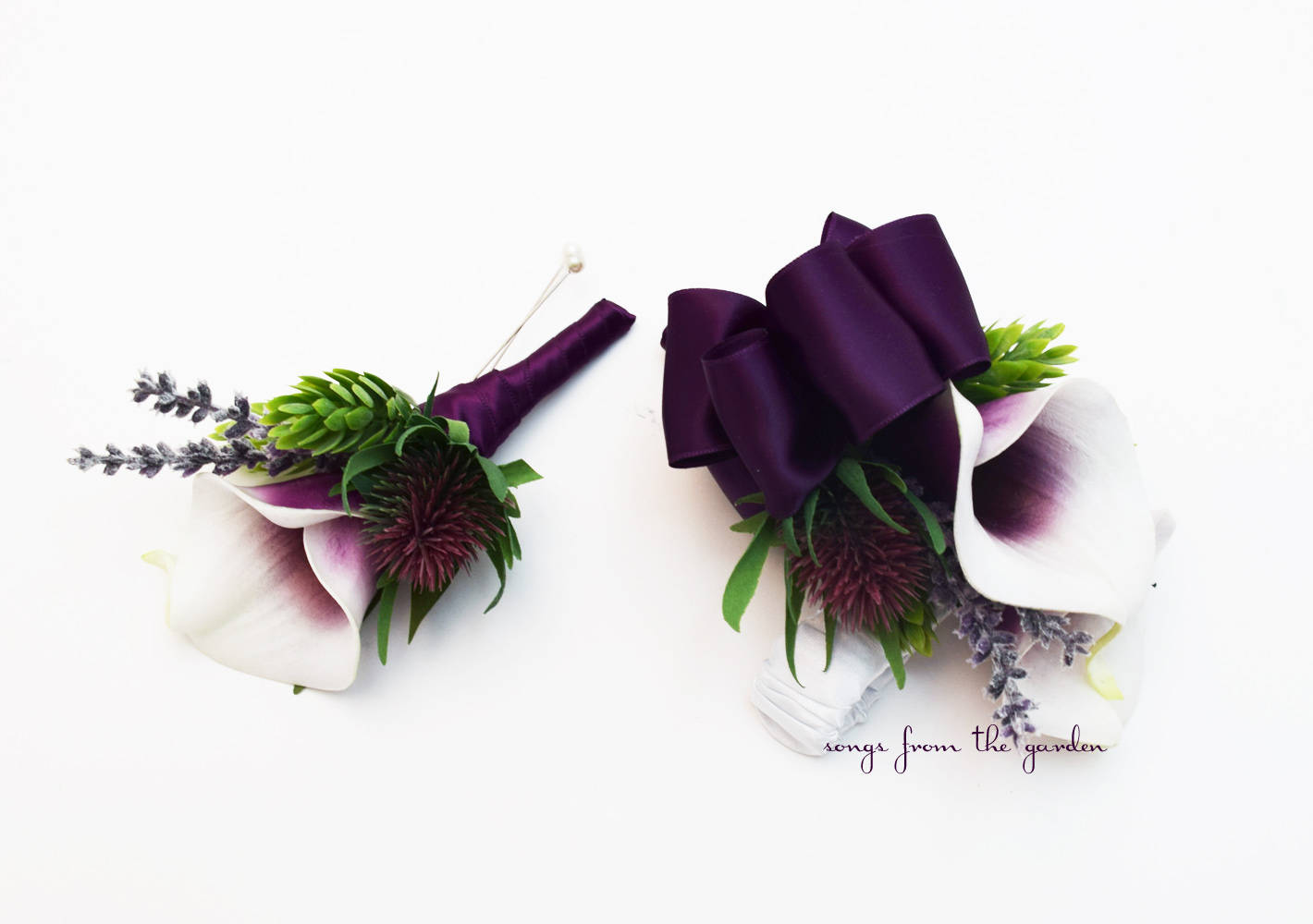 Picasso Calla and Thistle Boutonniere and Corsage  - Wedding Prom Homecoming Boutonniere and Corsage