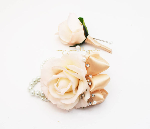 Blush Rose Wedding Boutonniere & Corsage - Crystals and Pearls Wedding Homecoming Prom Corsage