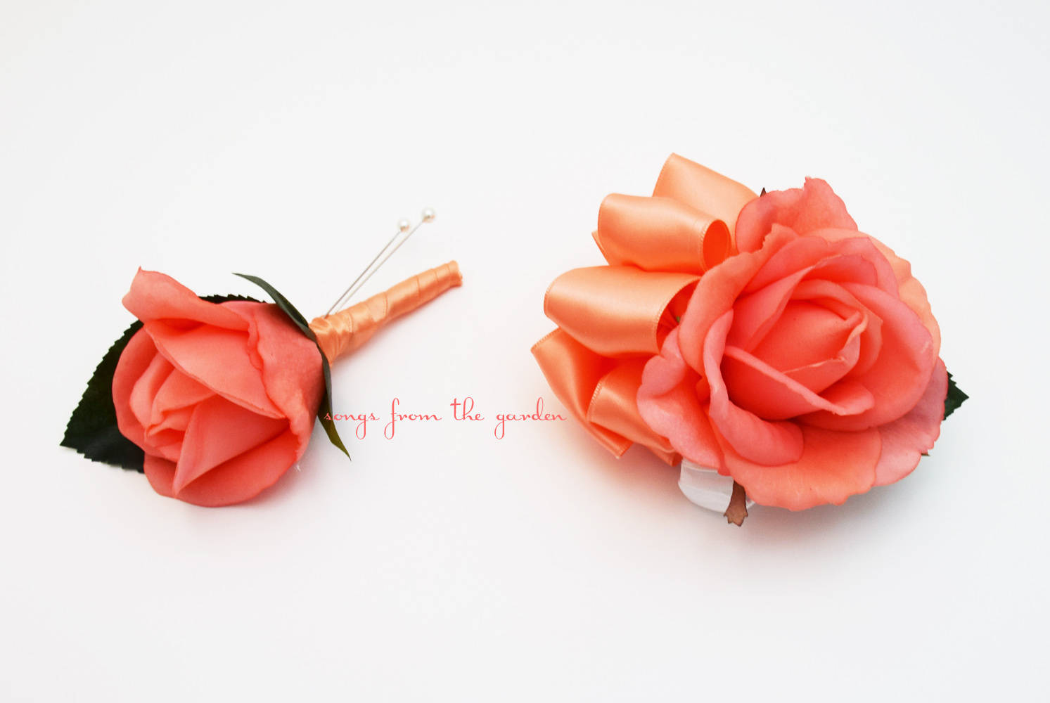 Coral Real Touch Rose Boutonniere and Corsage - Wedding Prom Homecoming Corsage or Boutonniere