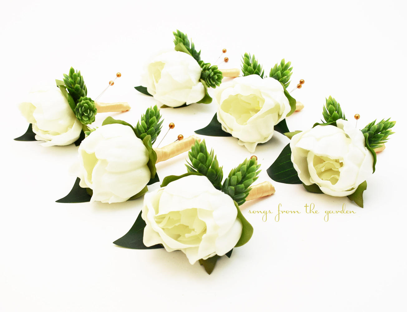 White Peony Boutonnieres - Hops Eucalyptus - Wedding Groom Groomsmen Prom Homecoming Boutonniere