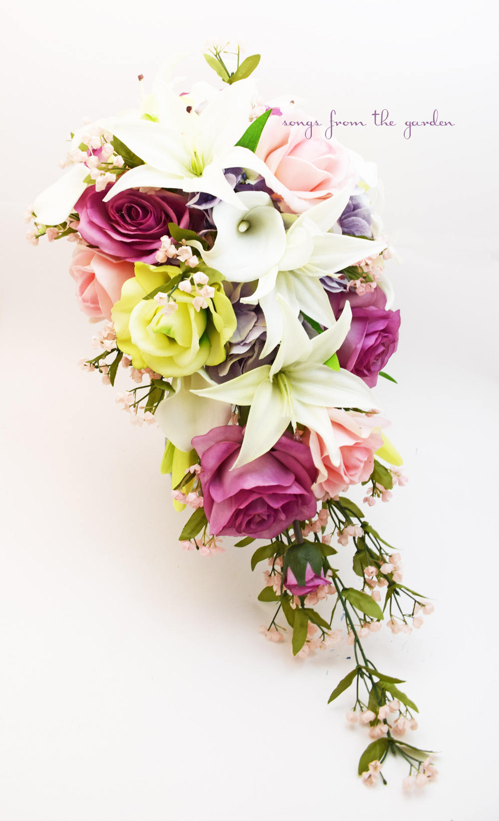 Cascade Bridal Bouquet with Real Touch Roses, Real Touch Lilies, Silk Lavender Hydrangea