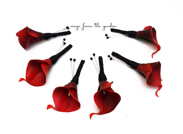 Real Touch Red Calla Lily Boutonnieres Groom Groomsmen - Wedding Prom Boutonniere