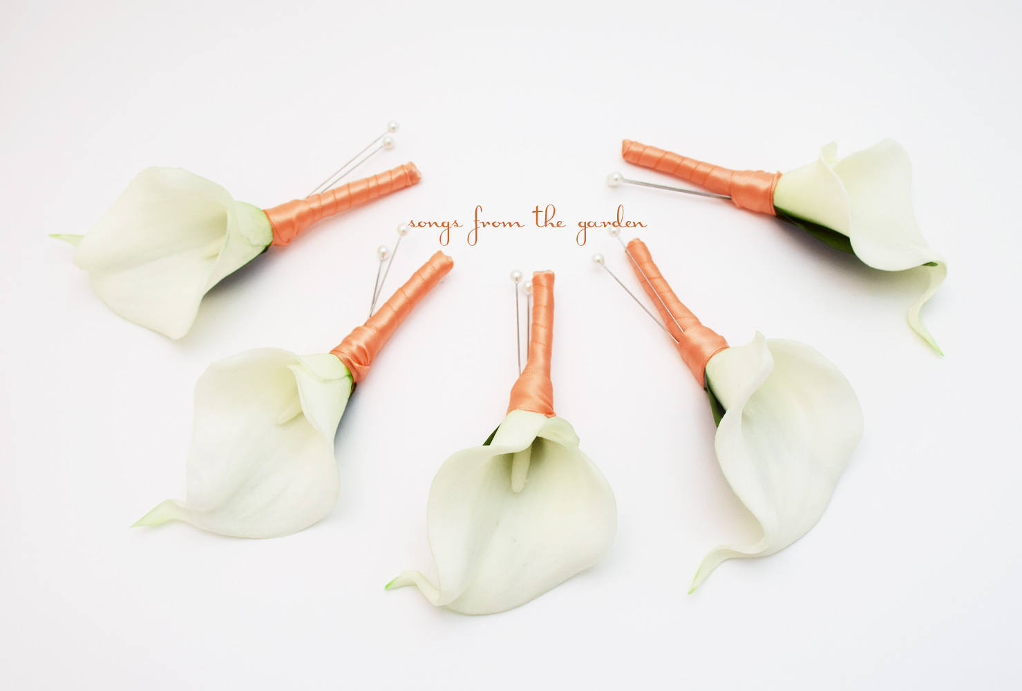 Real Touch White Calla Lily Boutonnieres Groom Groomsmen - Wedding Prom Boutonniere