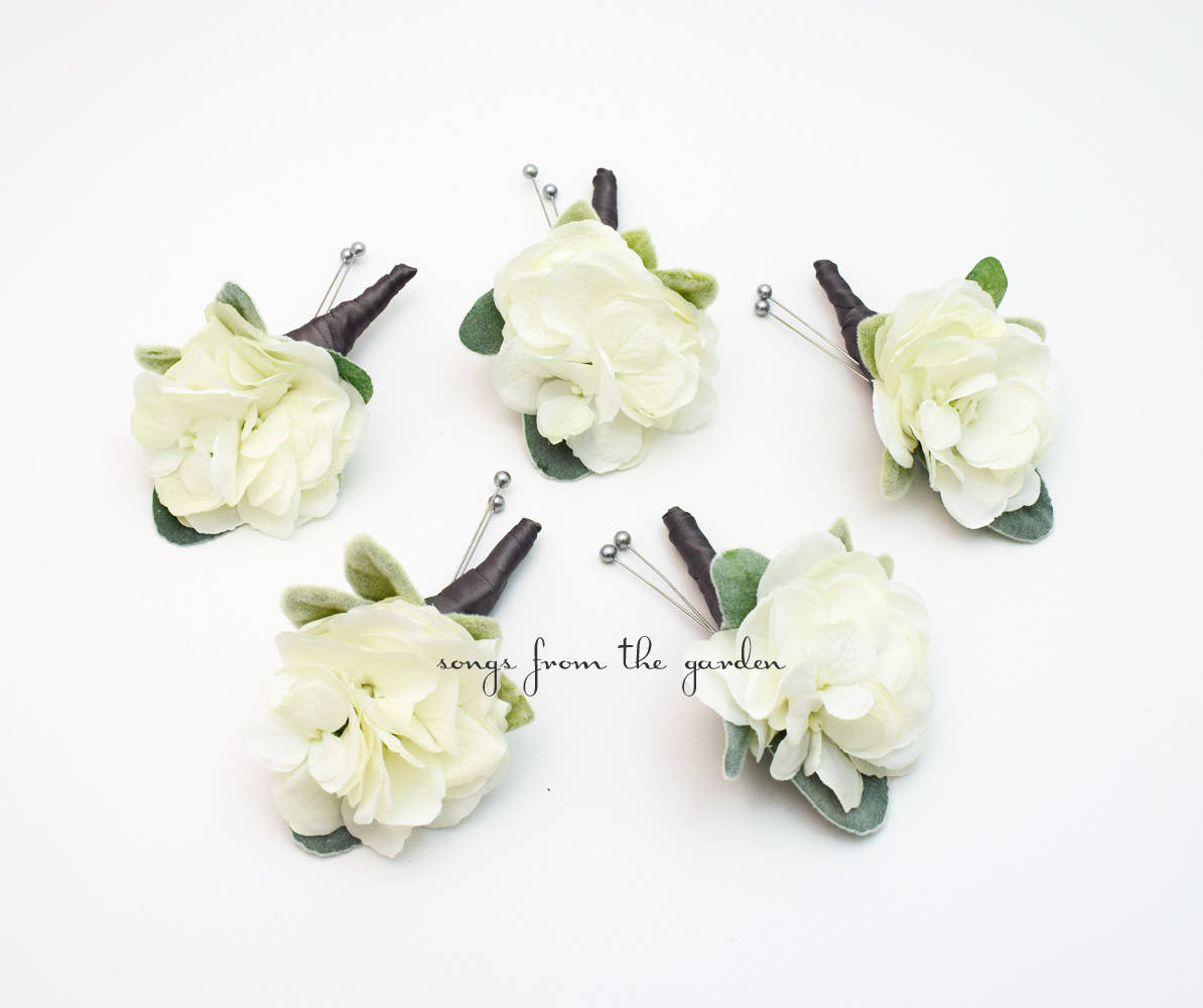 White and Grey Hydrangea Boutonniere Buttonhole Groom Groomsmen - Wedding Prom Boutonniere