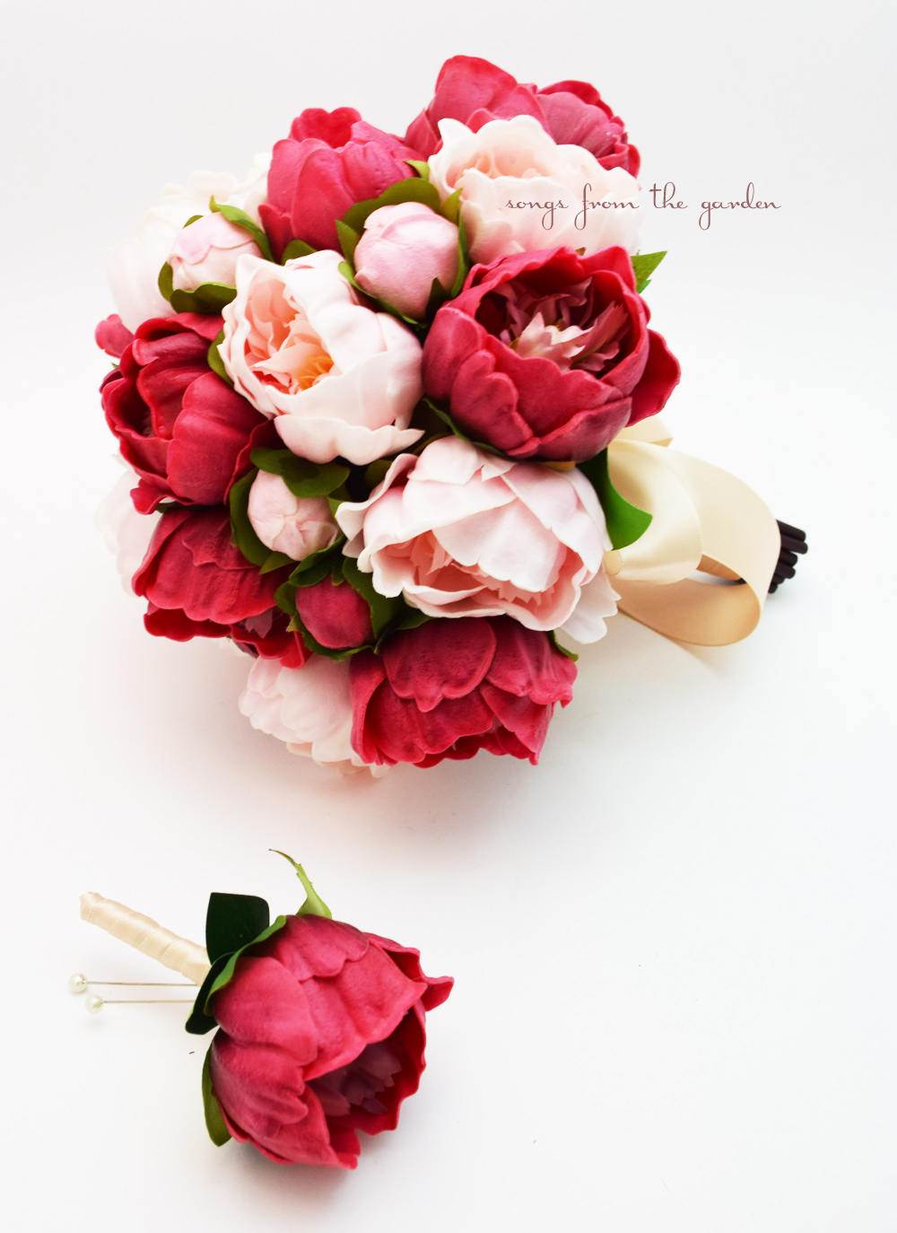 Peonies in Burgundy and Pink - Bridal Bouquet Groom's Boutonniere Real Touch Peonies