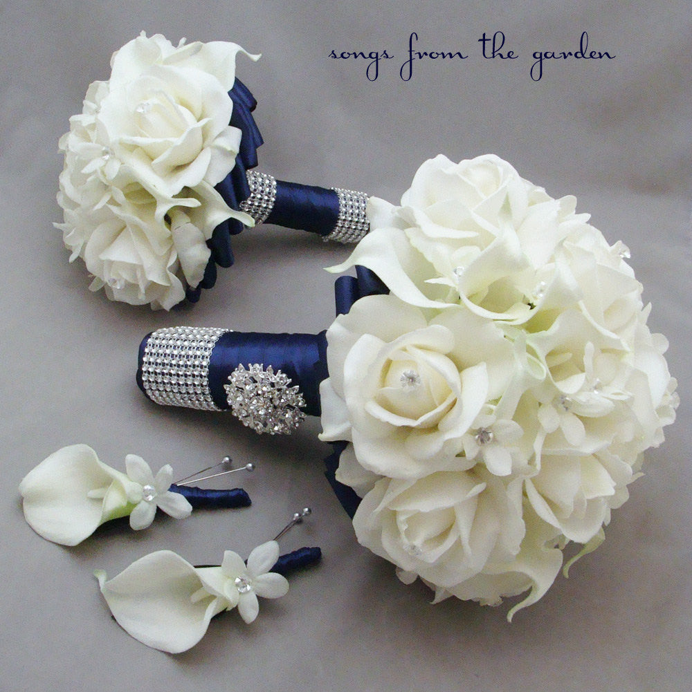 Navy White Wedding Package Bridal Bouquet, Groom's Boutonniere, Maid of Honor and Groomsman Bout