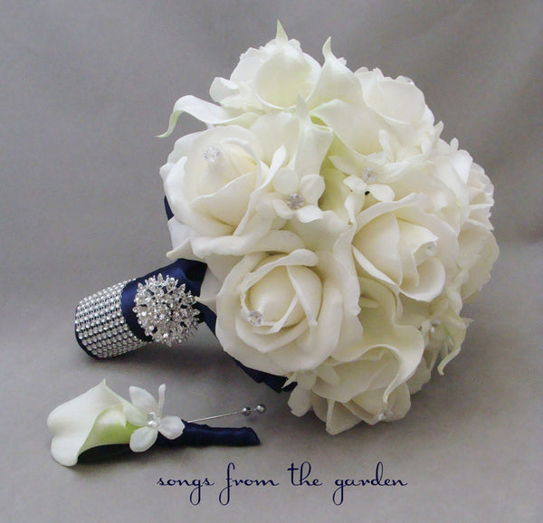 Navy White Bridal Bouquet Stephanotis Roses Calla Lily Groom's Boutonniere - Wedding Bouquet
