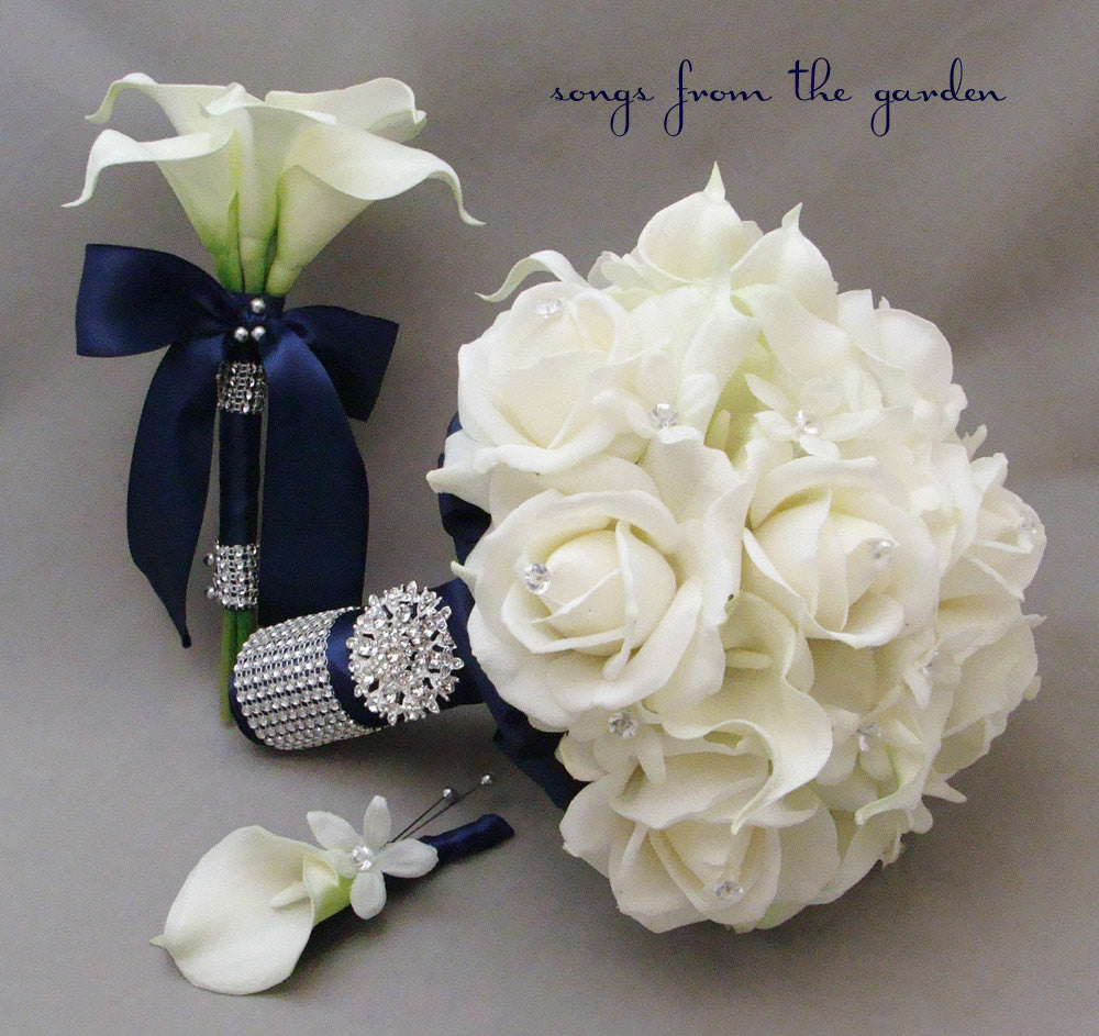 Navy White Bridal Bouquet, Toss Bouquet and Groom's Boutonniere Pearl Rhinestone Accents Brooch