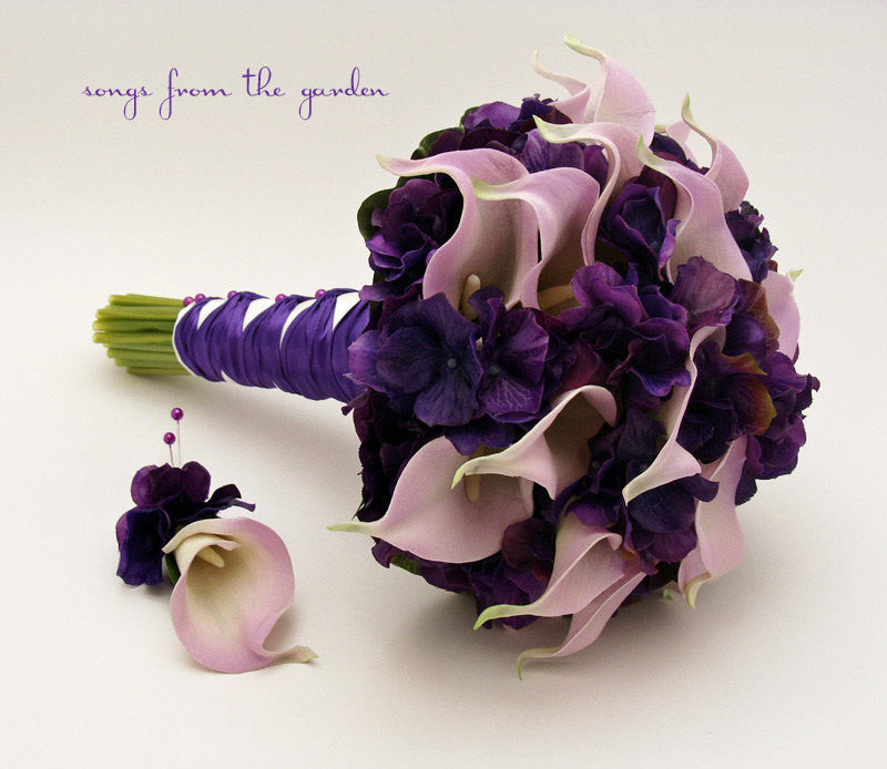 Real Touch Calla Lily Hydrangea Bridal Bouquet Groom's Boutonniere in Lavender and Purple