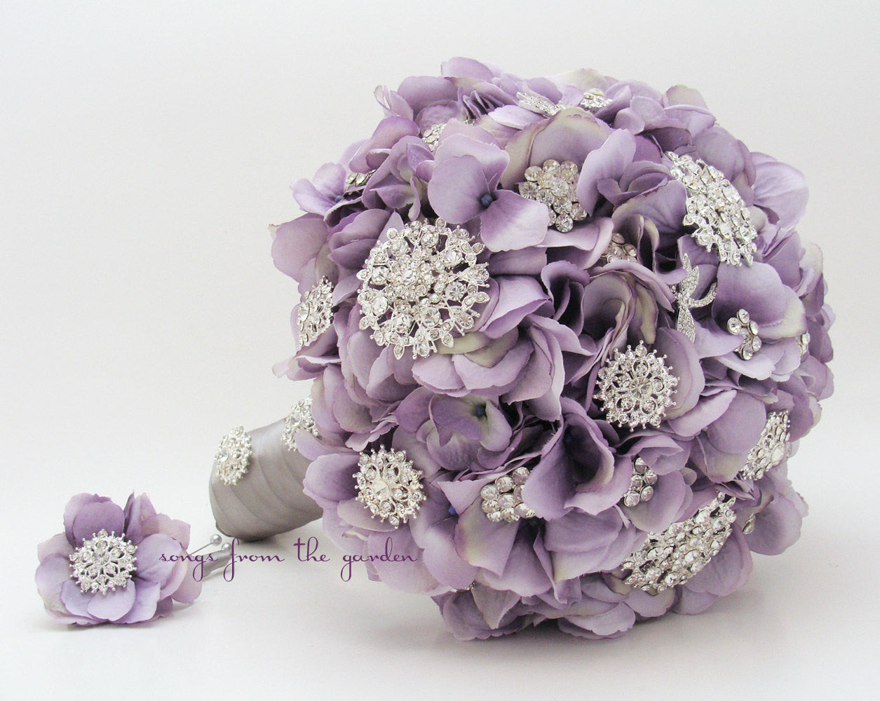 Brooches & Blooms Bridal Bouquet Lavender Silver Bouquet with Groom's Boutonniere