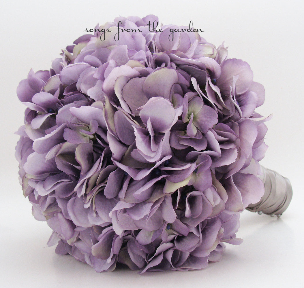 Wedding Bouquet Lavender Silk Hydrangea & Groom's Boutonniere