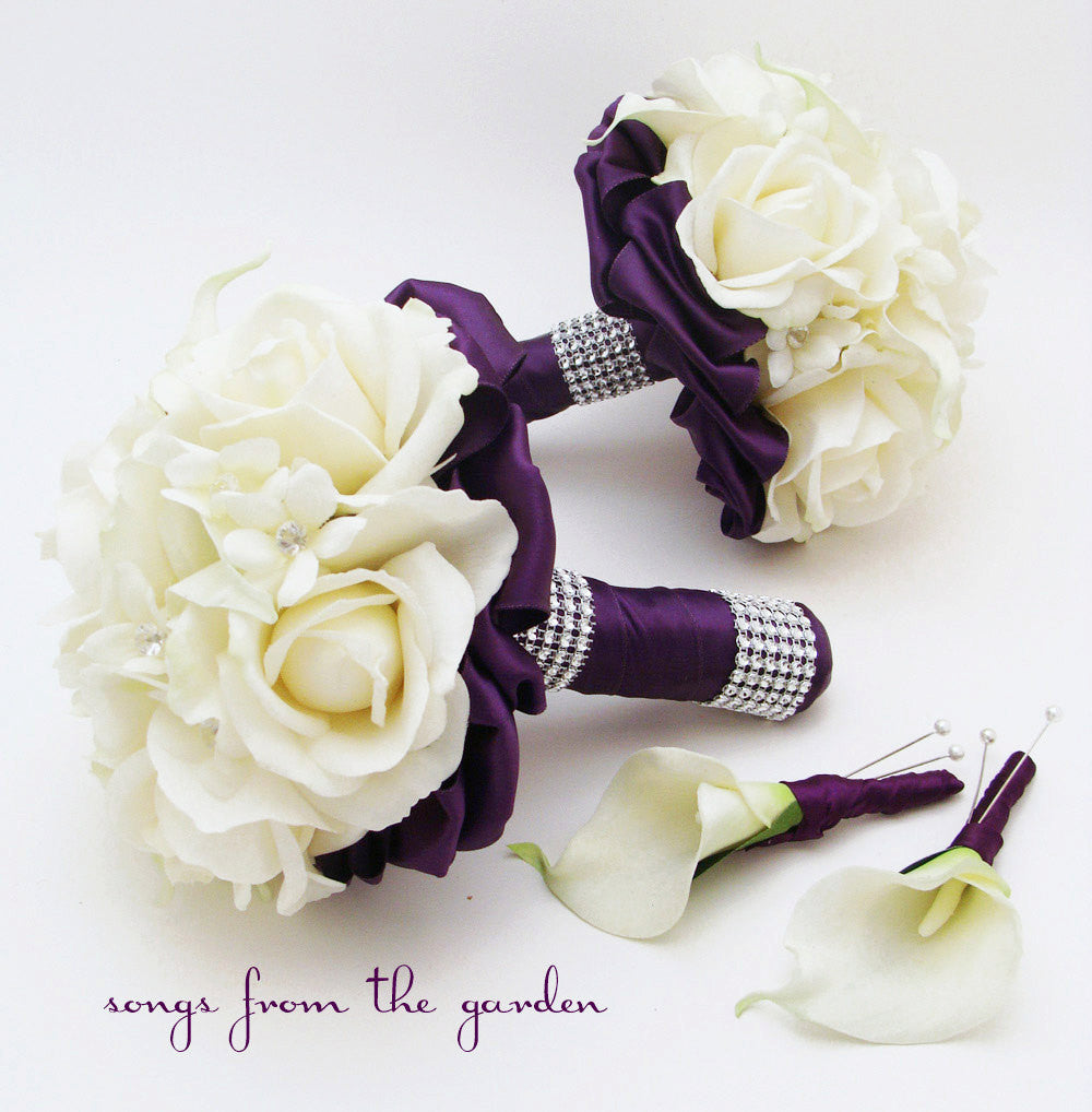 Purple & White Bridesmaid Bouquets Groomsman Boutonnieres Stephanotis Roses Calla Lilies