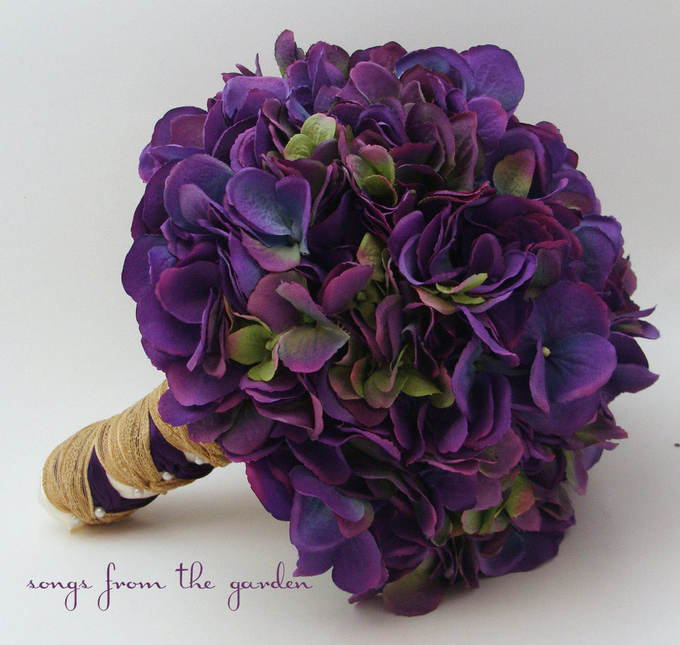 Rustic Wedding Bouquet Purple Silk Hydrangea Purple Silk Flower Bridal Bouquet Hydrangea