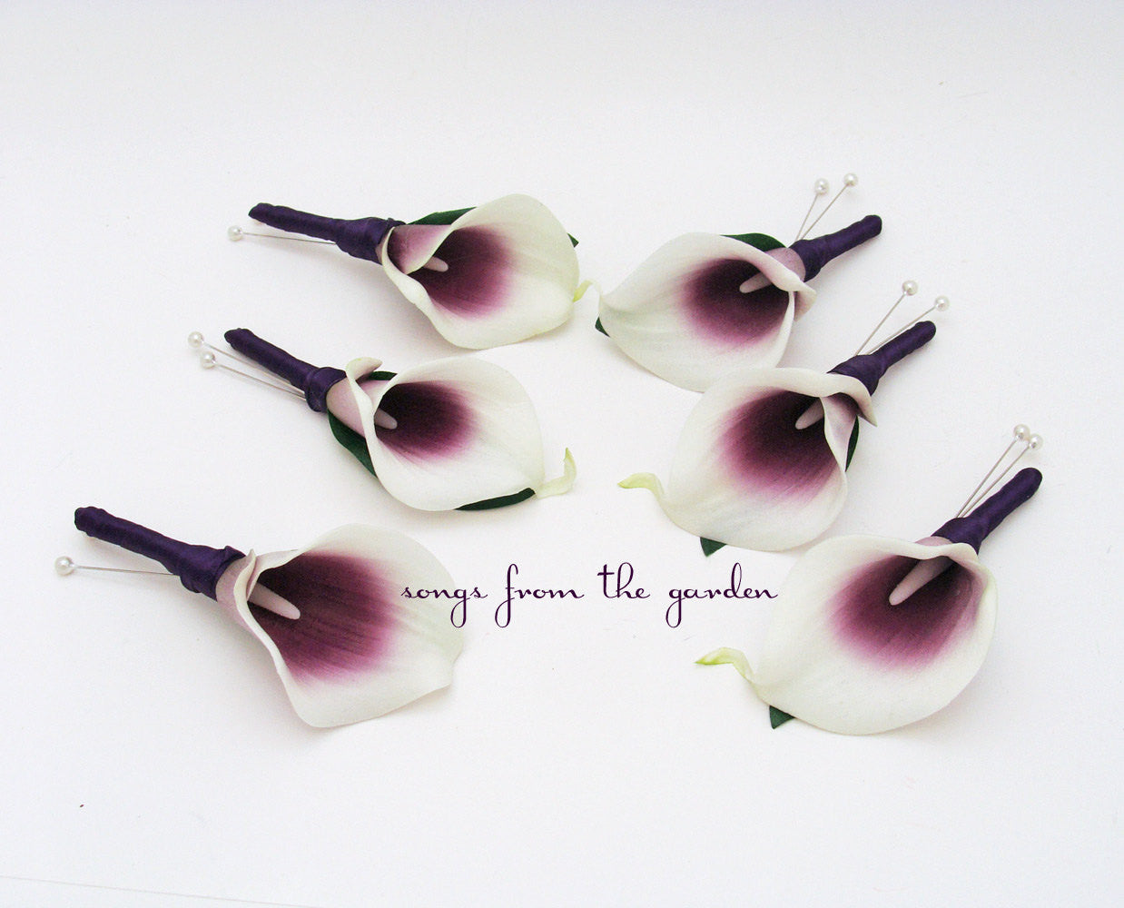 Real Touch Picasso Calla Lily Boutonnieres Groom Groomsmen - Plum Ribbon - Wedding Prom Boutonniere