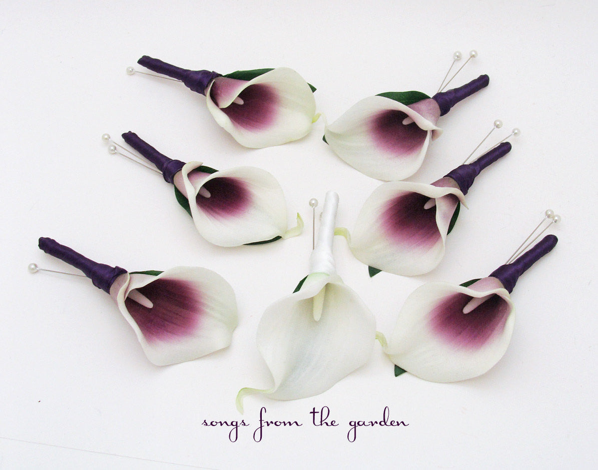 Real Touch Picasso & White Calla Lily Boutonnieres Flower Package