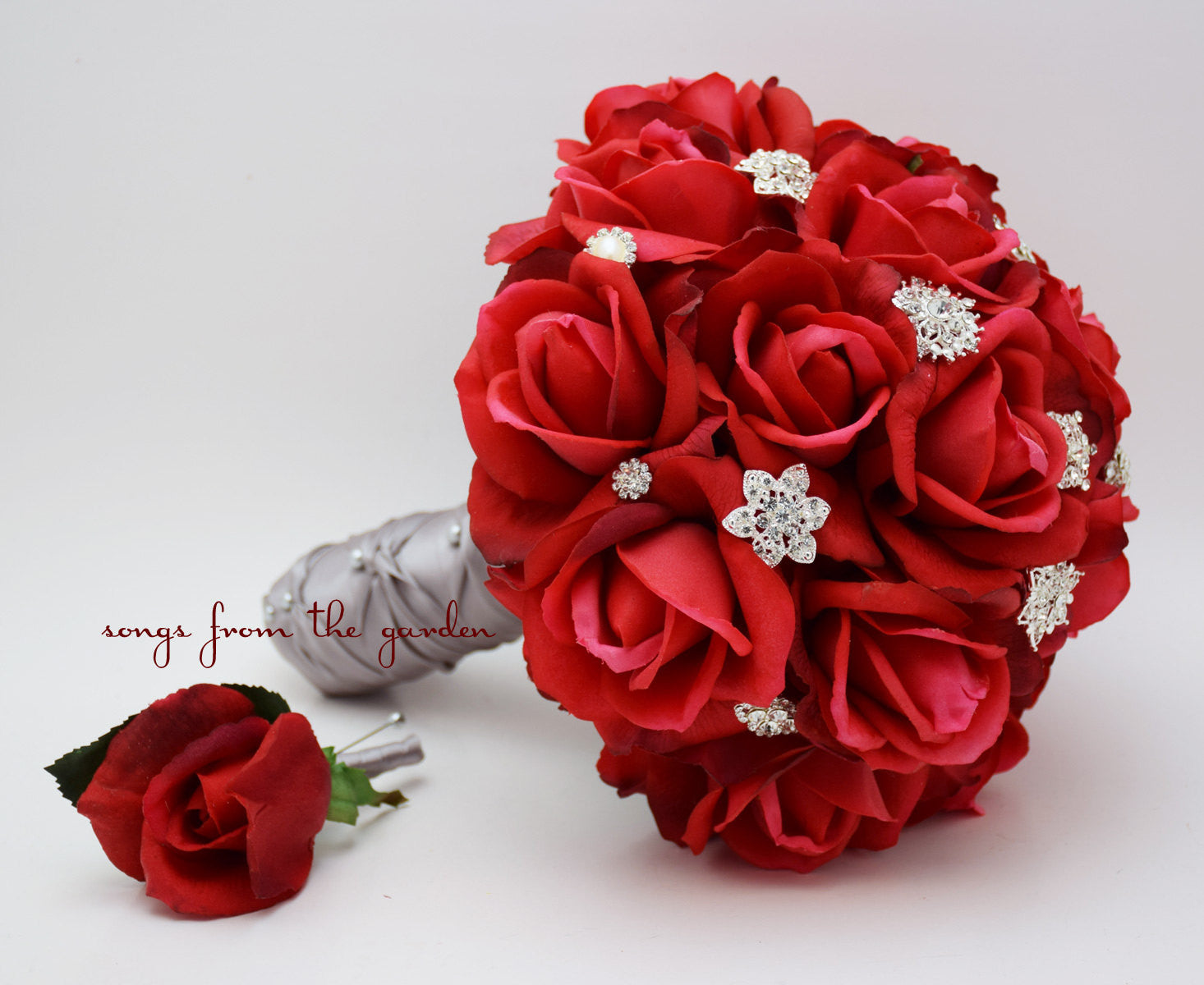 Red Roses & Rhinestones Real Touch Bridal Bouquet Groom's Boutonniere Red Grey Wedding