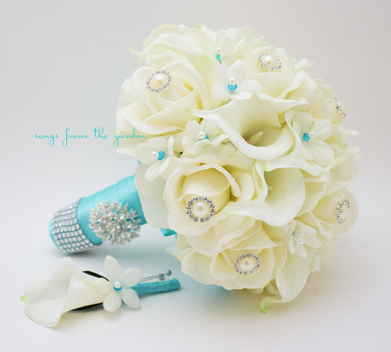 Bridal Bouquet Stephanotis Roses Calla Lily White Aqua Blue with Groom's Boutonniere