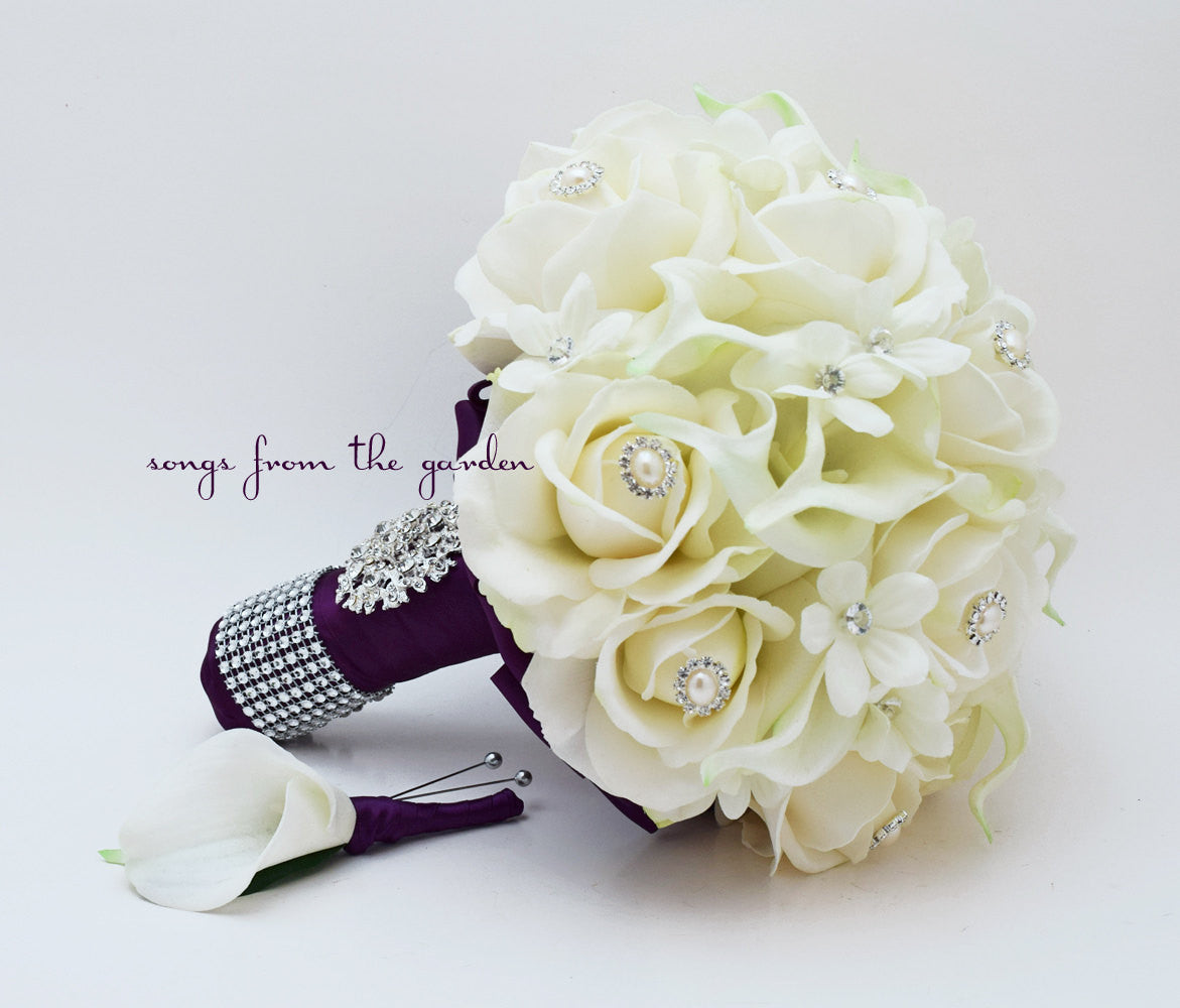 Real Touch Bridal Bouquet Stephanotis Roses Calla Lilies White Plum Purple & Groom's Boutonniere
