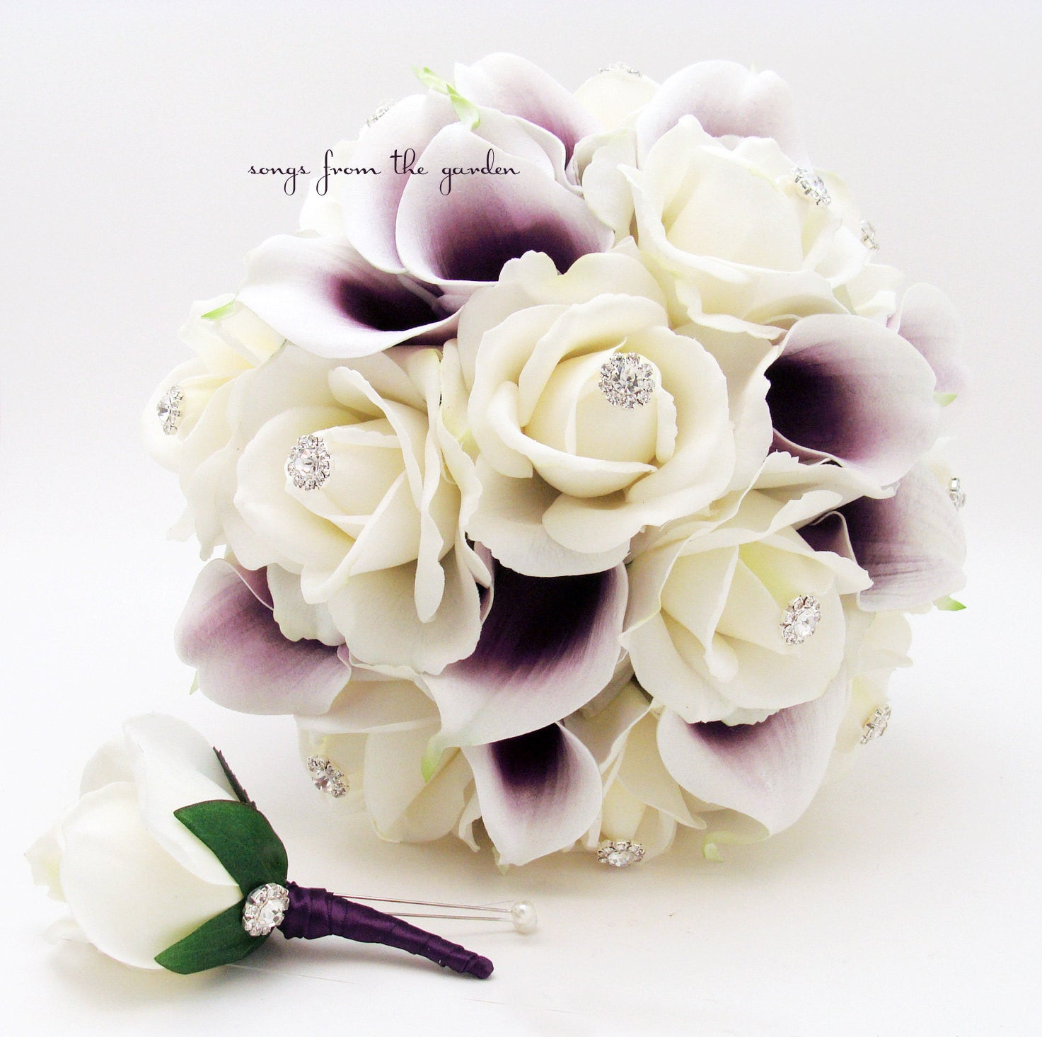 Purple White Real Touch Bridal Bouquet Picasso Calla Lilies Roses with Groom's Boutonniere