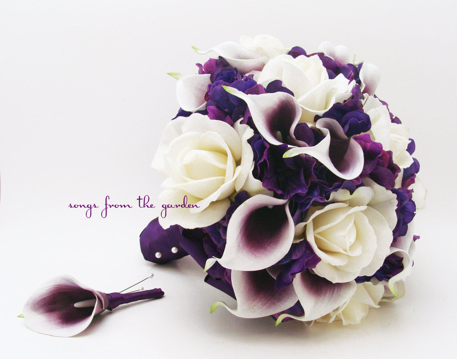 Bridal Bouquet Real Touch Picasso Callas White Roses & Purple Hydrangea with Groom's Boutonniere